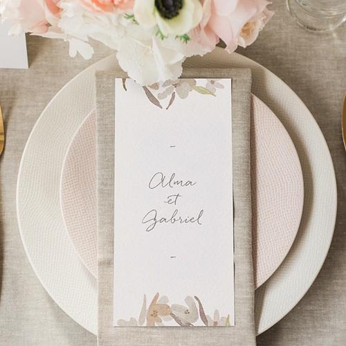 Menu Mariage Couronne Fleurs Aquarelle, Repas gratuit