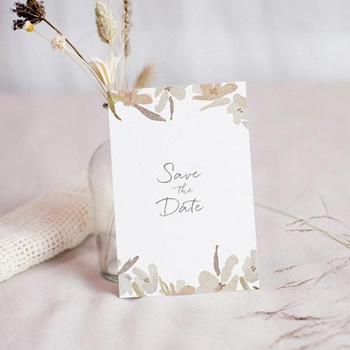 Save The Date Mariage Couronne Fleurs Aquarelle, Jour J