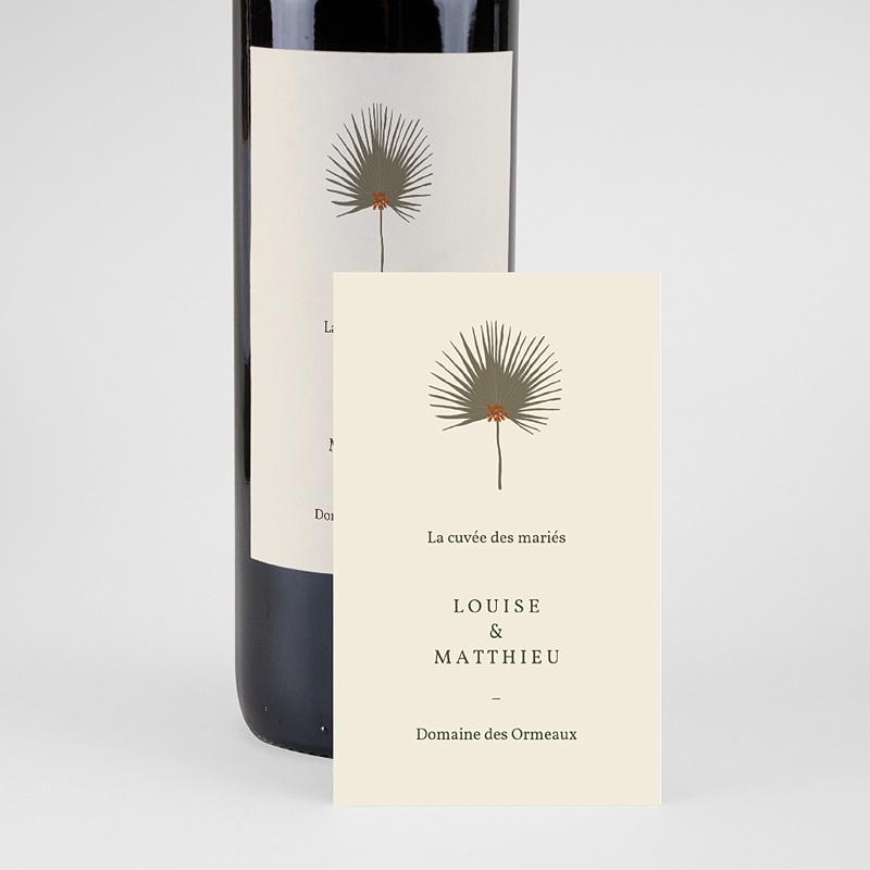 Etiquette Bouteille Mariage Boho palmier, Beige, Vin pas cher