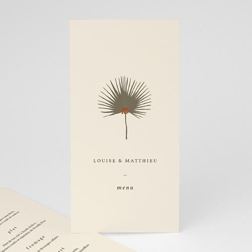 Menu Mariage Boho palmier, Beige, Dîner