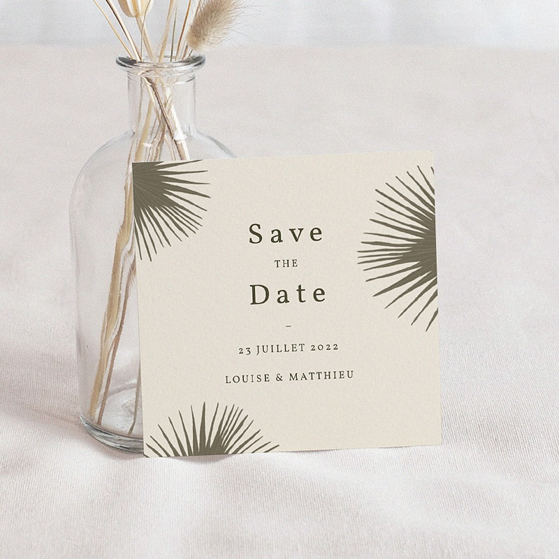 Save The Date Mariage Boho palmier, Beige, 10 x 10 cm