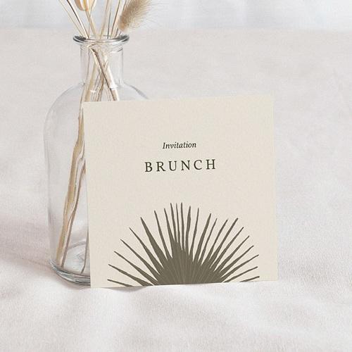 Carte Invitation Mariage Boho palmier, Beige, brunch