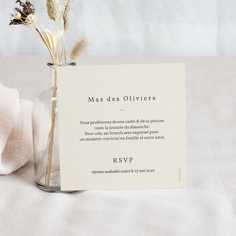 Carte Invitation Mariage Boho palmier, Beige, brunch pas cher