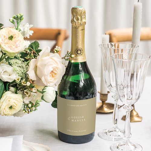Etiquette Bouteille Mariage Globe de mariée, Champagne gratuit