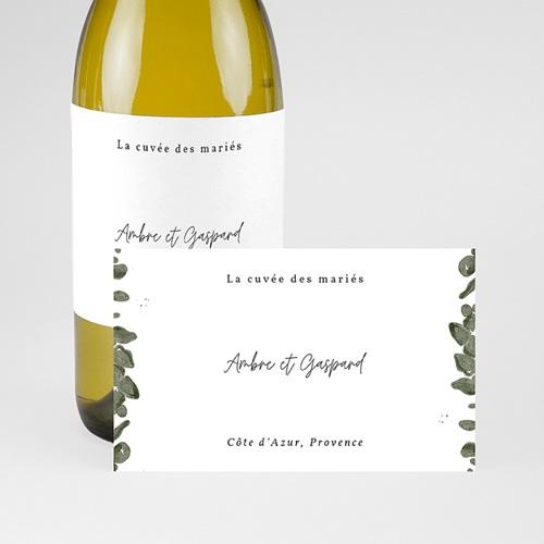 Etiquette Bouteille Mariage Eucalyptus aquarelle, Champagne pas cher