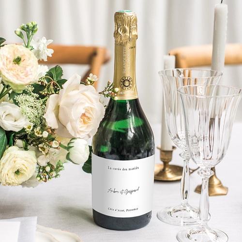 Etiquette Bouteille Mariage Eucalyptus aquarelle, Champagne gratuit