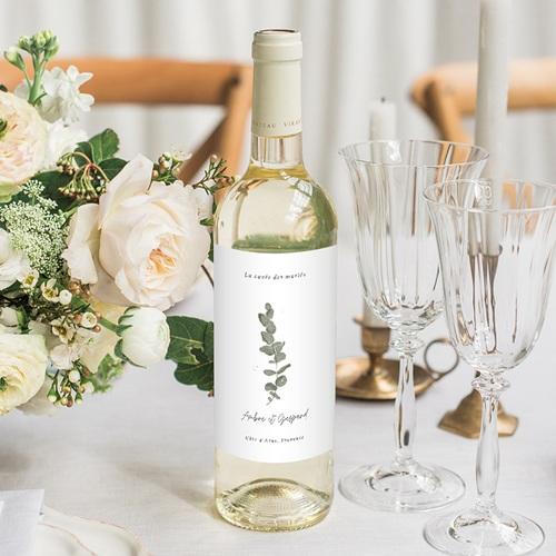 Etiquette Bouteille Mariage Eucalyptus Aquarelle, vin