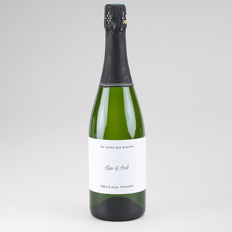 Etiquette Bouteille Mariage Fougère Aquarelle, Champagne