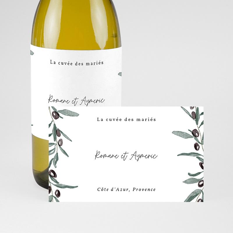 Etiquette Bouteille Mariage Olivier Aquarelle, Champagne pas cher