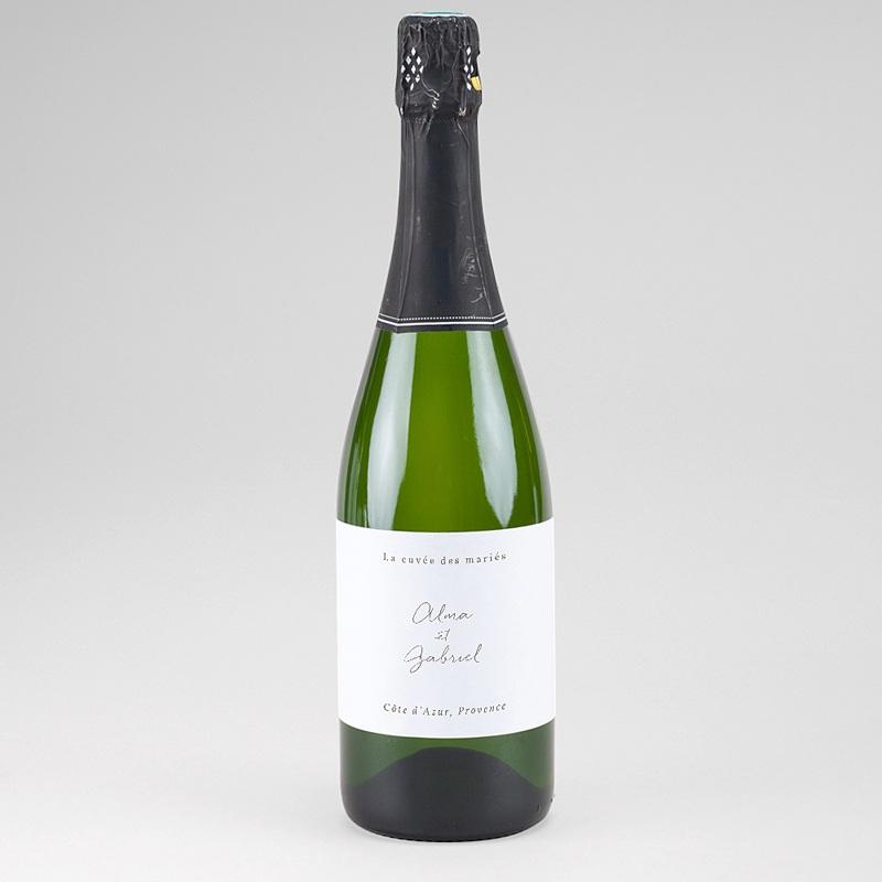 Etiquette Bouteille Mariage Couronne Fleurs Aquarelle, Champagne