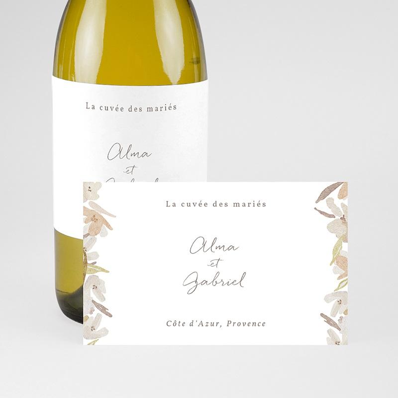 Etiquette Bouteille Mariage Couronne Fleurs Aquarelle, Champagne pas cher