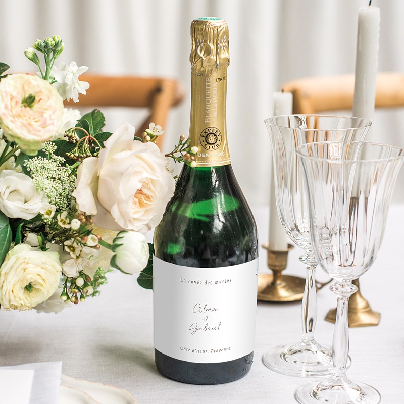 Etiquette Bouteille Mariage Couronne Fleurs Aquarelle, Champagne gratuit