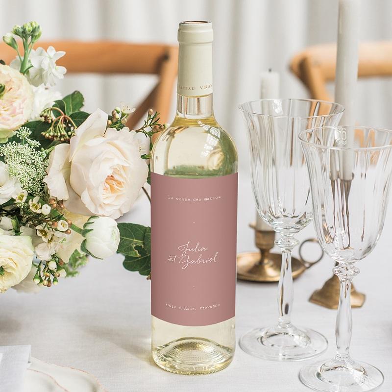 Etiquette Bouteille Mariage Arche Bohème, Vin