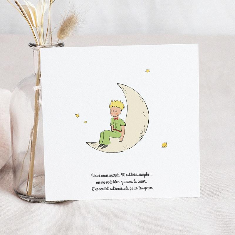 Carte de Voeux Le Petit Prince sur la lune