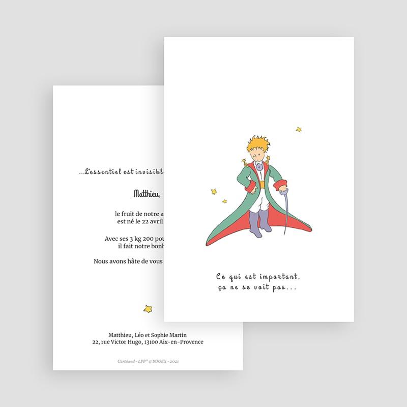 Faire-Part Naissance Portrait en Majesté du Petit Prince gratuit