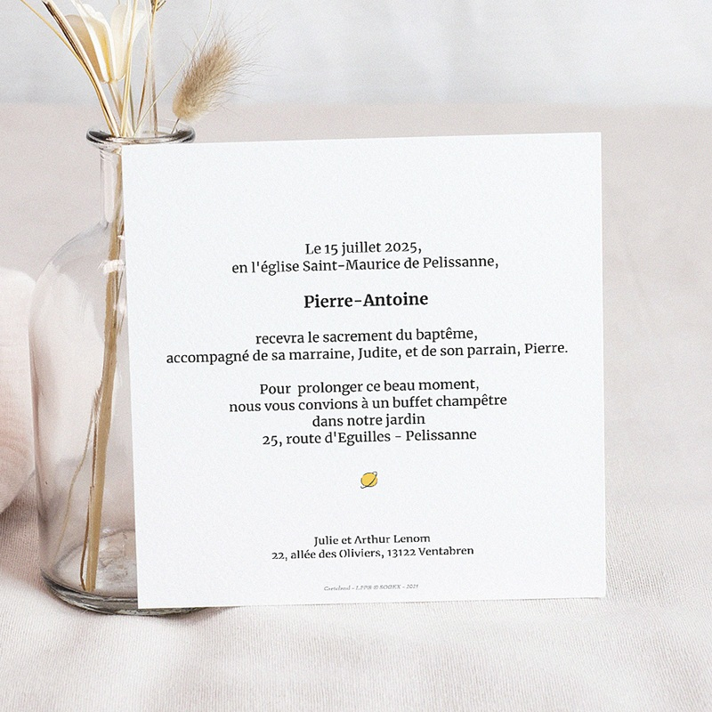 Faire-Part Baptême L'ami du Petit Prince, 14 x 14.5 cm pas cher