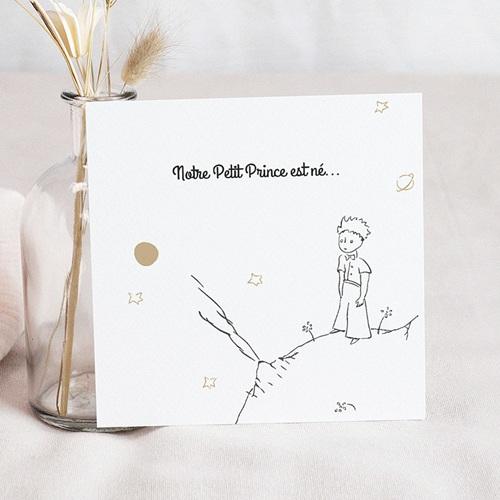 Faire-Part Naissance Esquisse & dorure, Planète du Petit prince