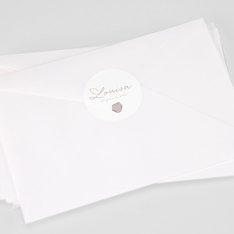 Etiquette Autocollante Naissance Fil à linge layette rose, sticker