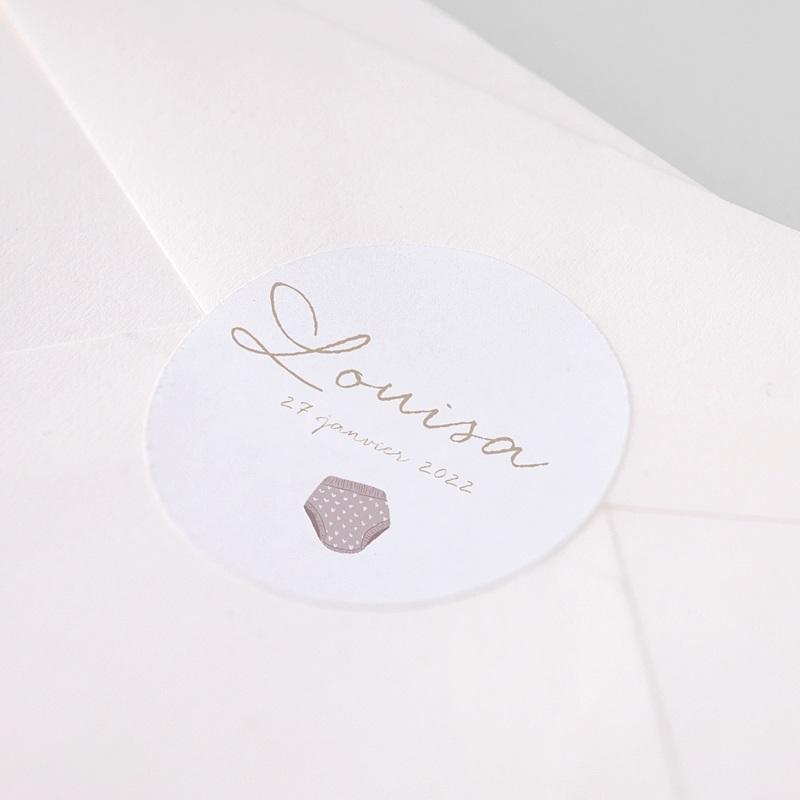 Etiquette Autocollante Naissance Fil à linge layette rose, sticker pas cher