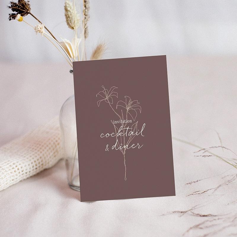 Carte Invitation Mariage Lys en Silhouette, Réception, 10 x 14 cm