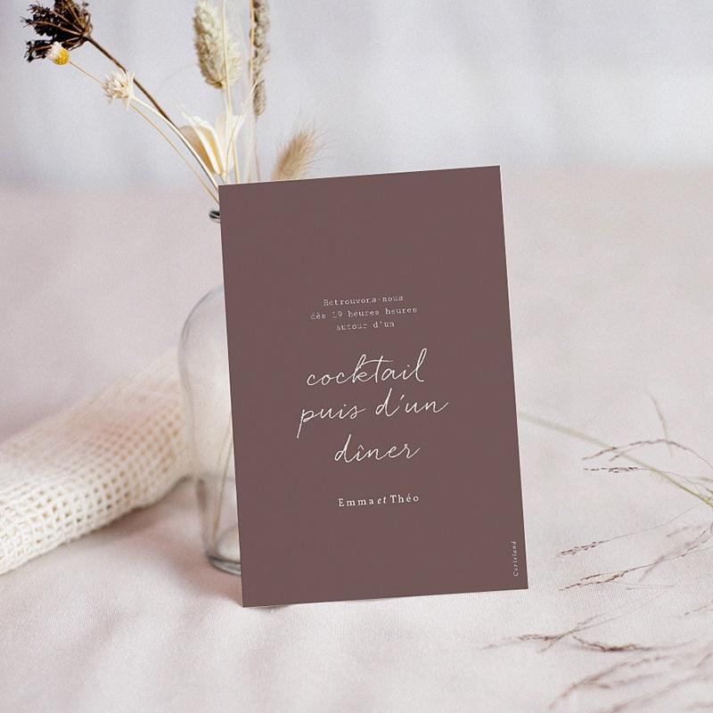 Carte Invitation Mariage Lys en Silhouette, Réception, 10 x 14 cm pas cher