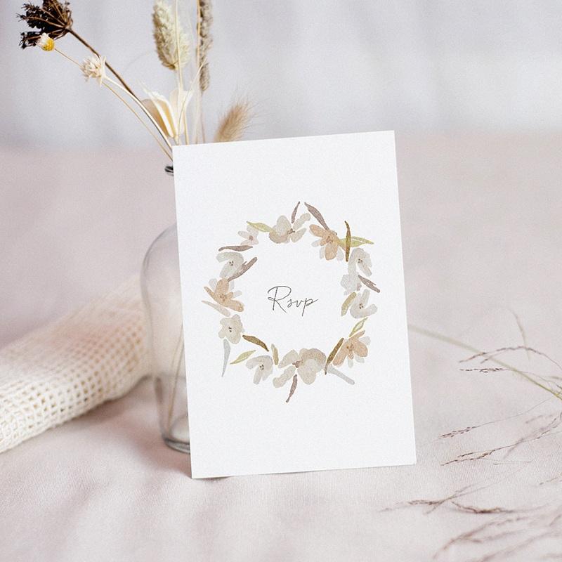 Carton Réponse Mariage Couronne Fleurs Aquarelle, Rsvp