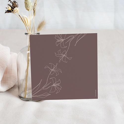 Carton Réponse Mariage Lys en Silhouette, 10 x 10 cm pas cher