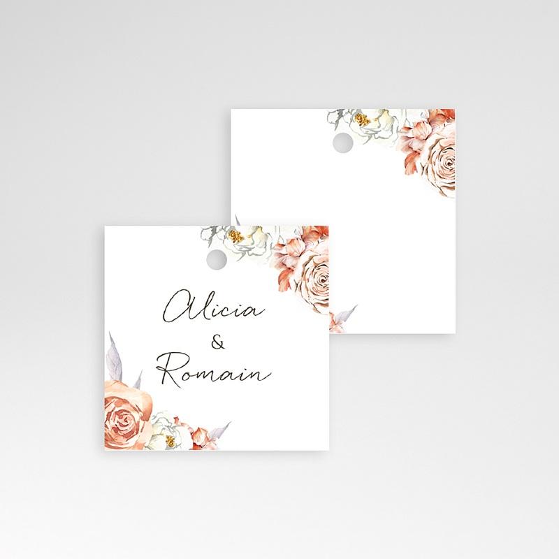 Marque Place Mariage Romantico, Roses caramel, 4,5 x 4,5 pas cher