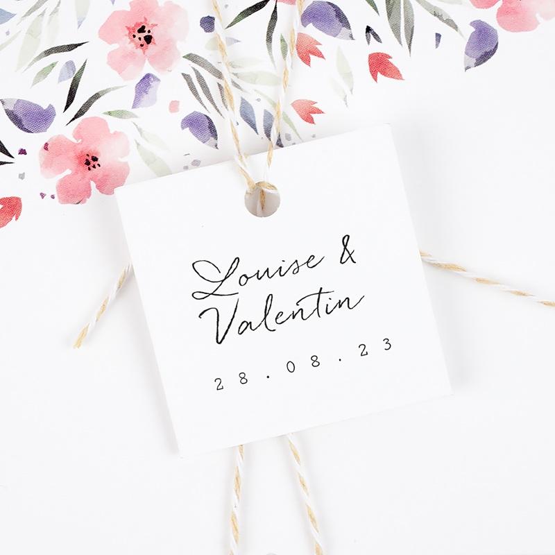 Etiquette Cadeau Mariage Bouquet Fleurs Rouges, 4 x 6 cm gratuit