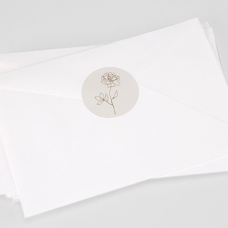 Etiquette Autocollante Mariage Pivoine en silhouette, Sticker