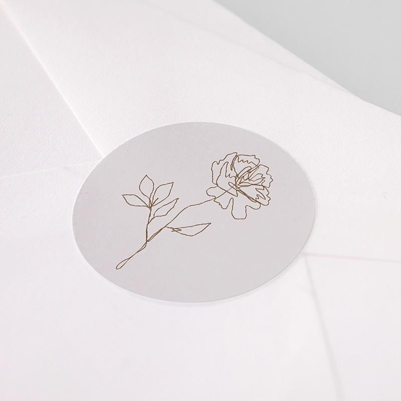 Etiquette Autocollante Mariage Pivoine en silhouette, Sticker pas cher