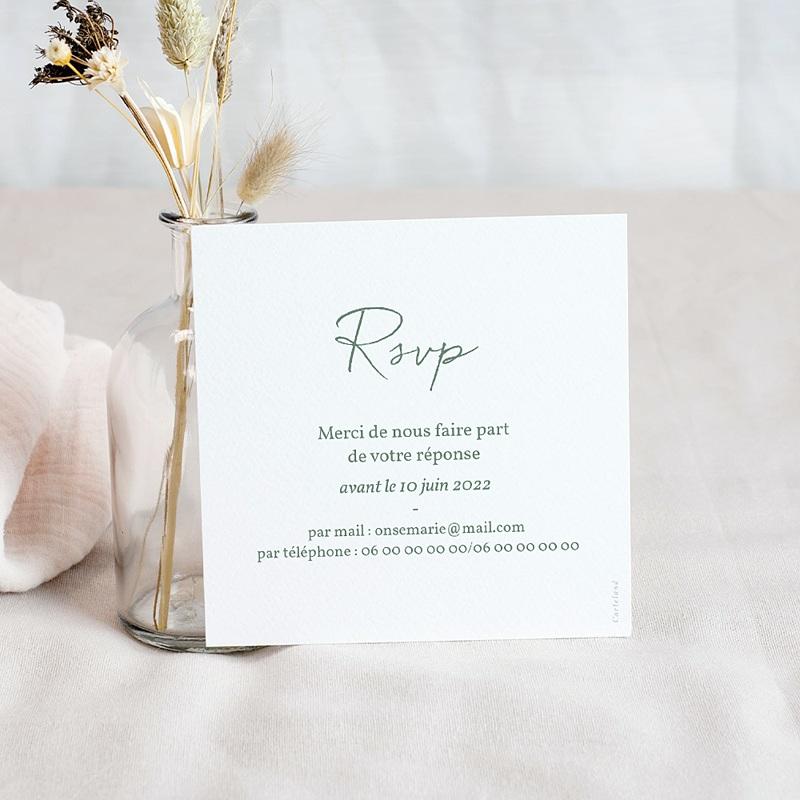 Carton Réponse Mariage Brin doré minimaliste, Rsvp pas cher