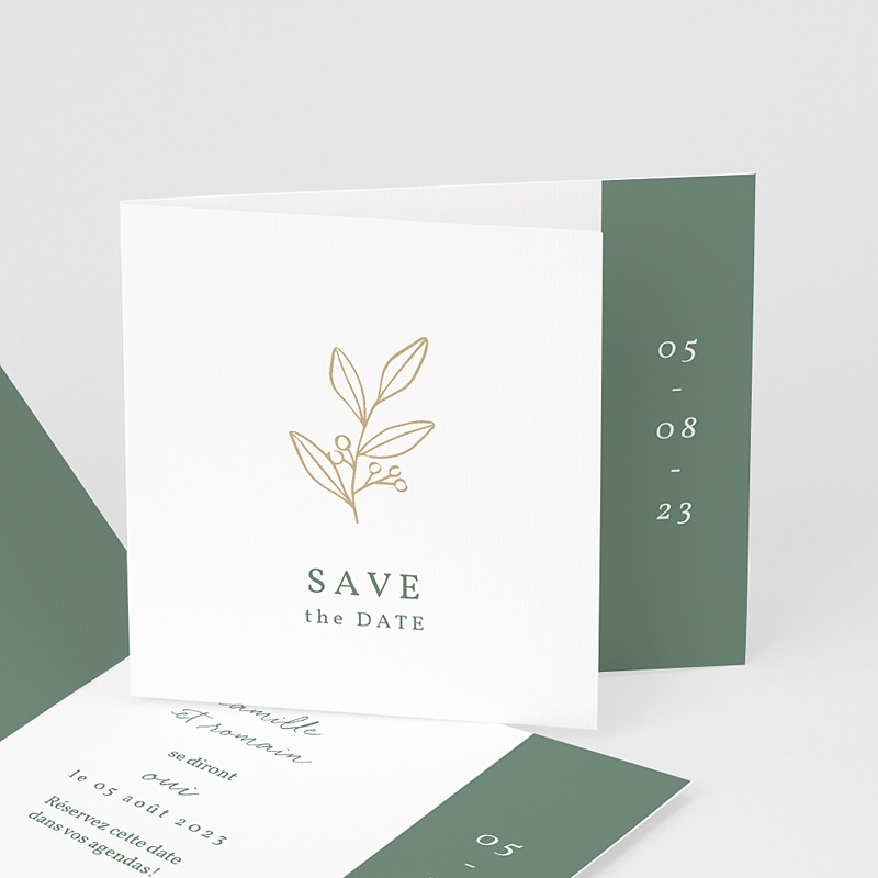 Save The Date Mariage Brin doré minimaliste, Jour J