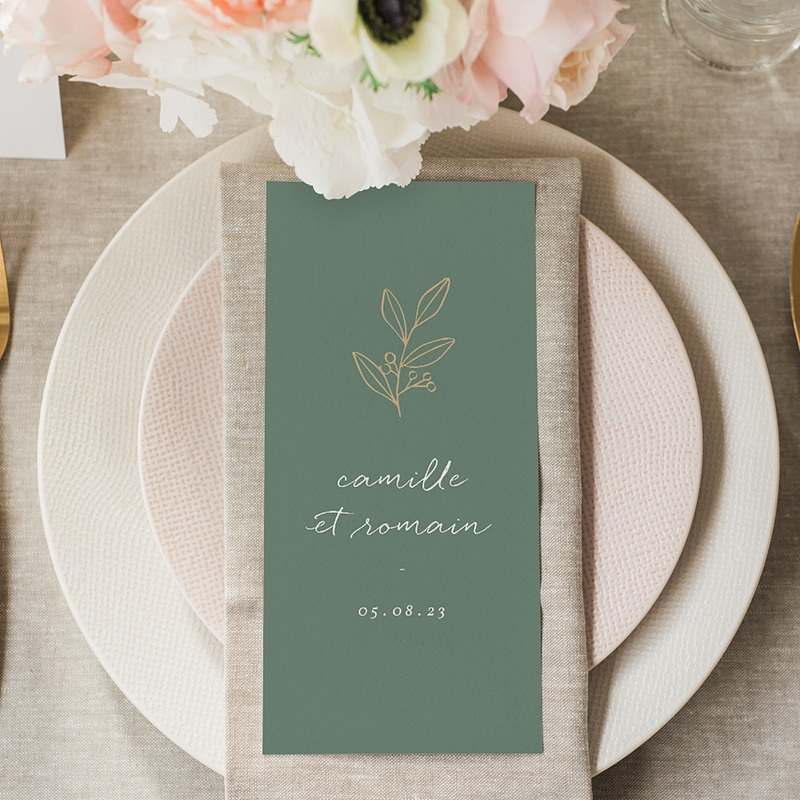 Menu Mariage Brin doré minimaliste, Repas gratuit