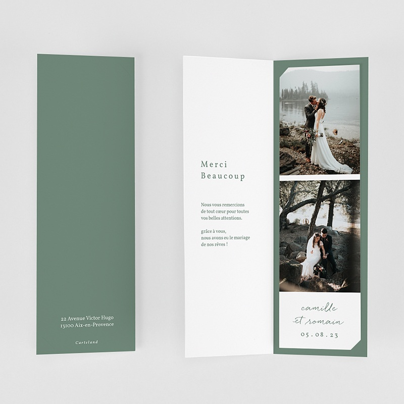 Carte Remerciement Mariage Brin doré minimaliste, 2 en 1 gratuit