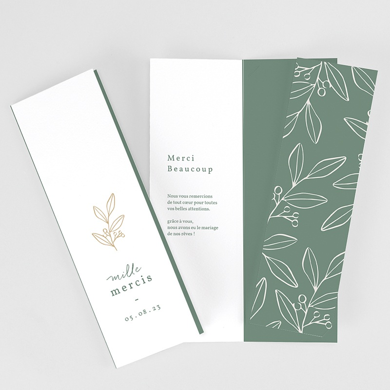 Carte Remerciement Mariage Brin doré minimaliste, 2 en 1