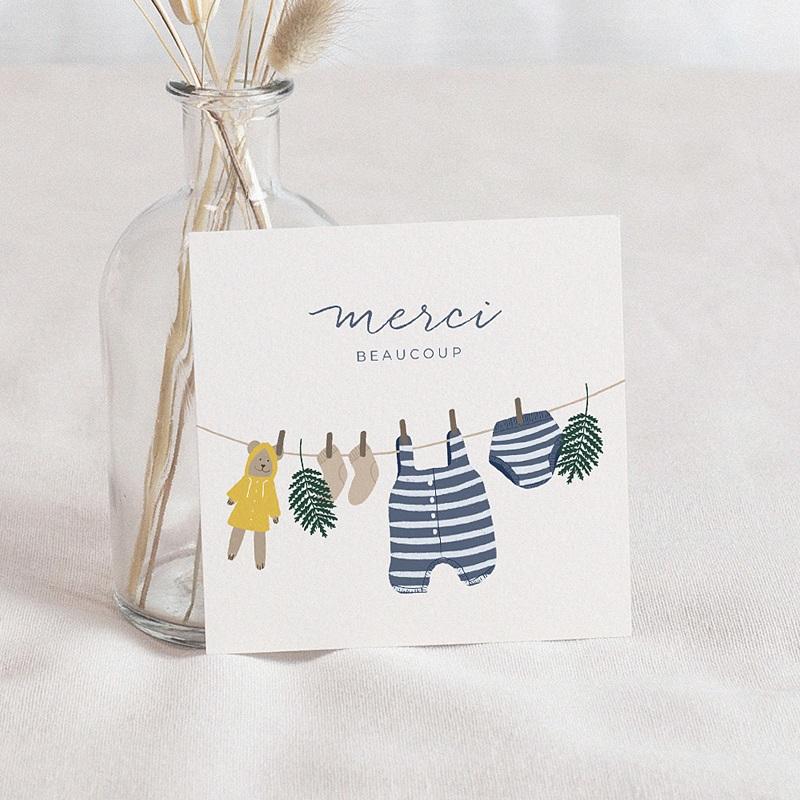 Carte Remerciement Naissance Fil à Linge Marin, 10 X 10 cm
