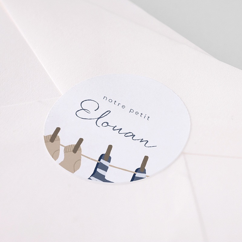 Etiquette Autocollante Naissance Fil à Linge Marin, Sticker Prénom pas cher