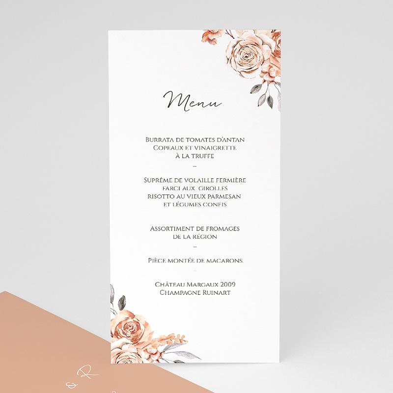 Menu Mariage Romantico, Roses caramel, 10 x 21 cm