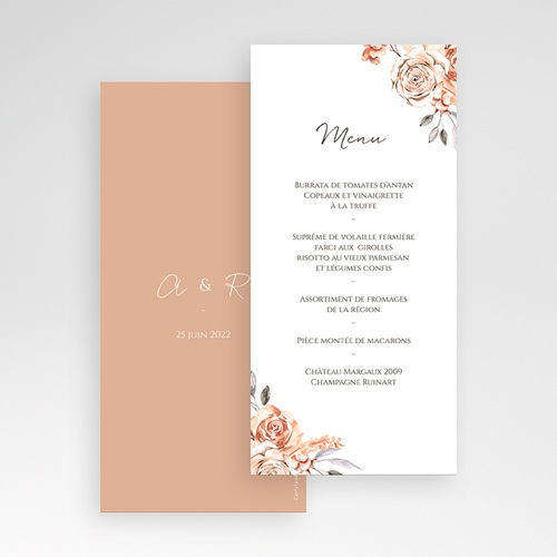 Menu Mariage Romantico, Roses caramel, 10 x 21 cm pas cher