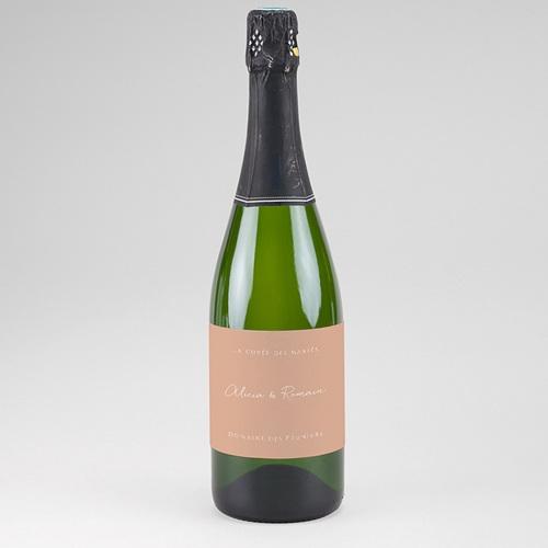 Etiquette Bouteille Mariage Romantico, Roses caramel, Champagne