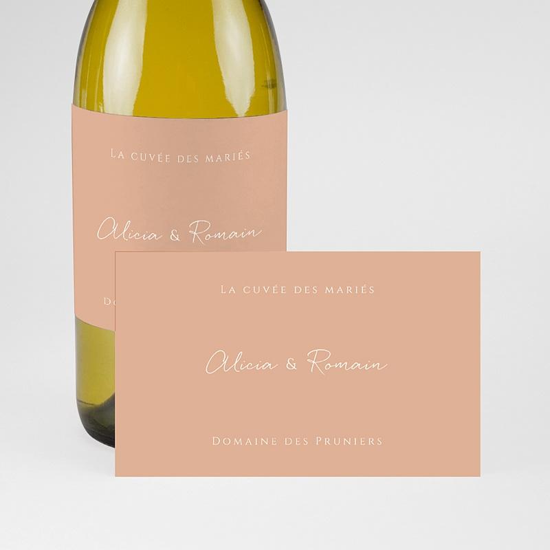 Etiquette Bouteille Mariage Romantico, Roses caramel, Champagne pas cher