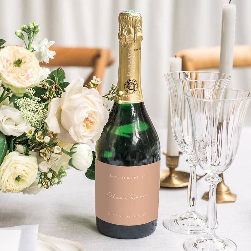 Etiquette Bouteille Mariage Romantico, Roses caramel, Champagne gratuit
