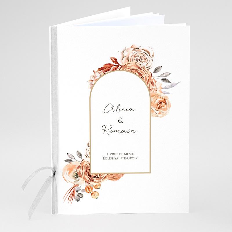 Livret de Messe Personnalisé Romantico, Roses caramel, couverture