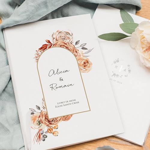 Livret de Messe Personnalisé Romantico, Roses caramel, couverture pas cher