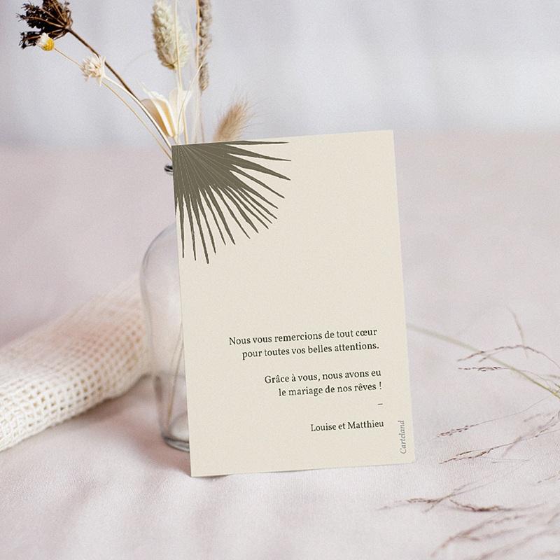 Carte Remerciement Mariage Boho palmier, beige, 14 x 10 cm pas cher