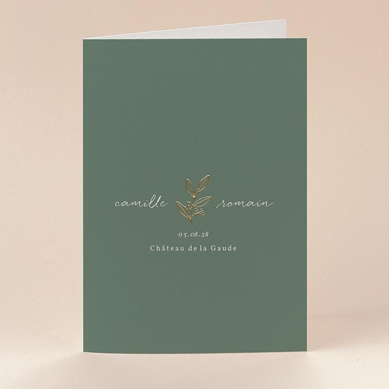 Faire-Part Mariage Brin doré minimaliste, double volet