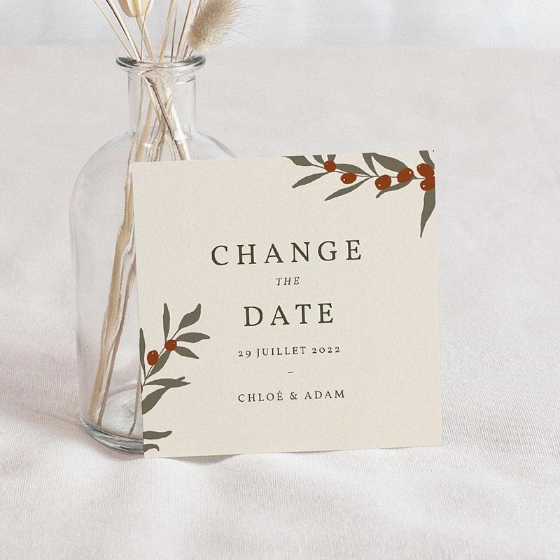 Change The Date Mariage Boho Olivier beige, Date reportée
