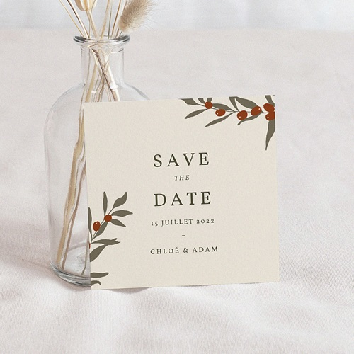 Save The Date Mariage Boho Olivier beige, Jour J
