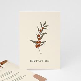 Carte Invitation - Boho Olivier beige, réception - 0